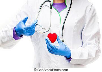corazón rojo, con, jeringuilla