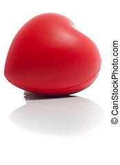 corazón rojo, con, reflexión