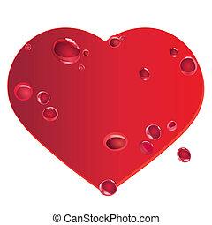 corazón rojo, con, sangriento, gotas, en, su