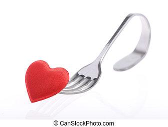 corazón rojo, con, tenedor, blanco, plano de fondo