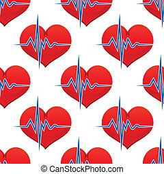corazón rojo, con, un, latido de corazón, pulso