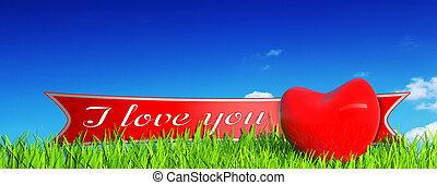 corazón rojo, en, pasto o césped