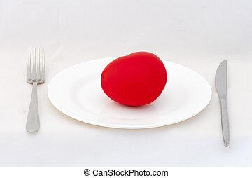 corazón rojo, en, placa, con, fondo blanco