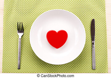 corazón rojo, en, placa