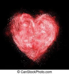 corazón rojo, hecho, de, blanco, polvo, explosión, aislado, en, negro