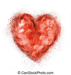 corazón rojo, hecho, de, negro, polvo, explosión, aislado, blanco