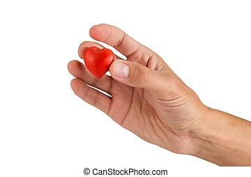 corazón rojo, hecho, de, plasticine, en, un, entregue, un, blanco, backgrou