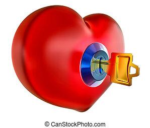 corazón, rojo, llave, dorado