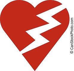 corazón, rojo, relámpago
