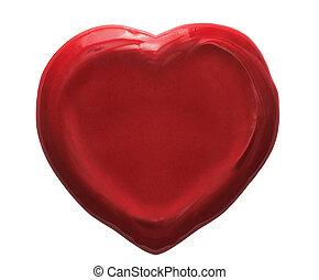 corazón rojo, sello de lacrar, aislado, blanco