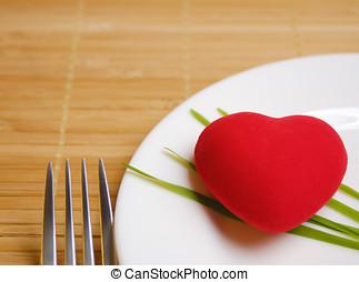 corazón rojo, servido, en, el, placa