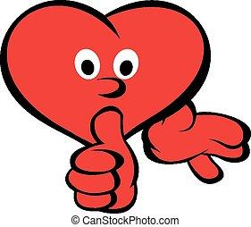 corazón, rojo, sonrisa