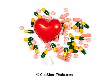 corazón rojo, y, píldoras