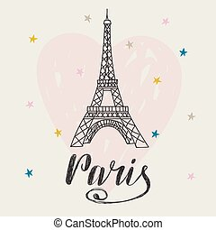 corazón, romántico, eiffel, ilustración, mano, tower.,...