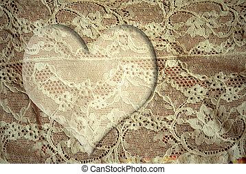 corazón, romántico, tarjeta, encaje