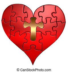 corazón, rompecabezas, cruz, orthographic