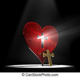 corazón, rompecabezas