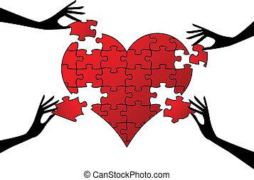 corazón, rompecabezas, vector, manos, rojo