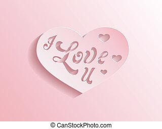 corazón, rosa, amor, inscripción, usted