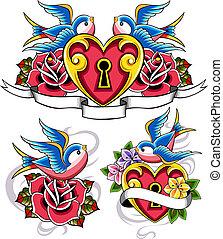corazón, rosa, gorrión, clásico, emb