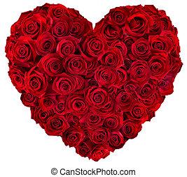 corazón, rosas, rojo