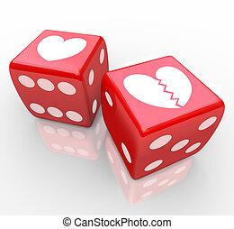 corazón roto, en, dados, risking, amor, relatioship,...