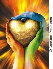corazón roto, en, tres, manos