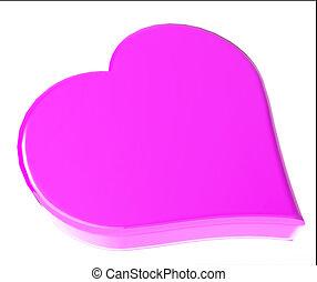 corazón, símbolo, 3, d, rosa