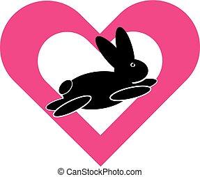 corazón, símbolo, conejo
