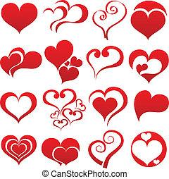corazón, símbolo, conjunto