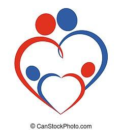 corazón, símbolo, familia