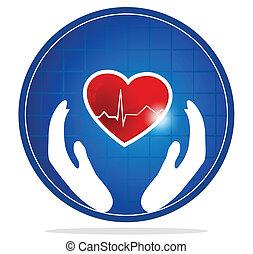 corazón, símbolo, protección, humano