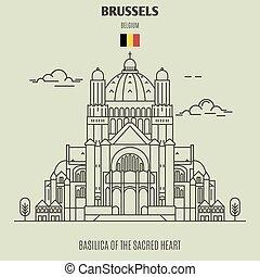 corazón sagrado, señal, belgium., basílica, bruselas, icono