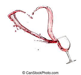 corazón, salpicadura, de, un, copa de vino tinto