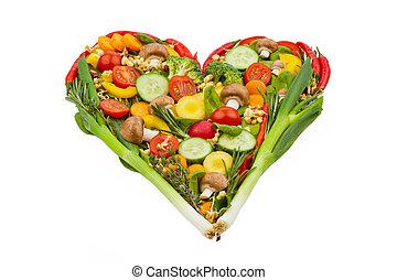 corazón sano, hecho, comida, vegetables.