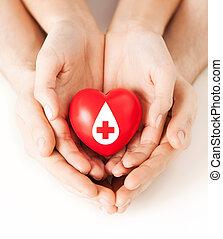 corazón, señal, manos de valor en cartera, donante, rojo