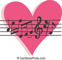 corazón, señal, nota, musical, rosa