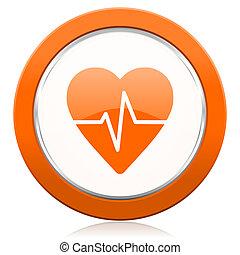 corazón, señal, pulso, tasa, naranja, icono