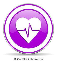 corazón, señal, pulso, violeta, tasa, icono