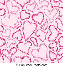 corazón, seamless, plano de fondo, sketched