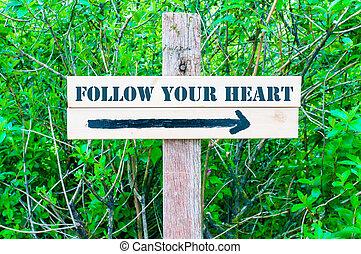 corazón, seguir, señal, su, direccional