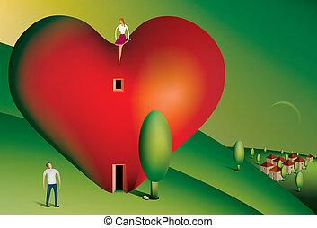 corazón, sentado, mujer, casa