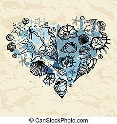 corazón, shells., dibujado, ilustración, mano