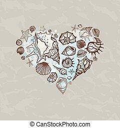 corazón, shells., mar