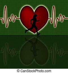 corazón, silueta, corredor, gráfico, golpe, hembra, rojo