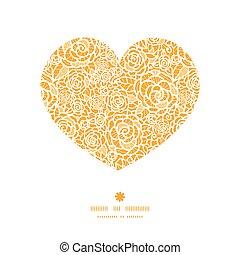 corazón, silueta, encaje, dorado, patrón, marco, rosas, vector