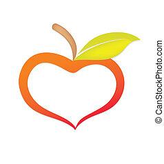 corazón, similar, manzana