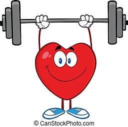 corazón, sonriente, pesas, elevación