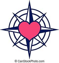 corazón, starred, compás, icono