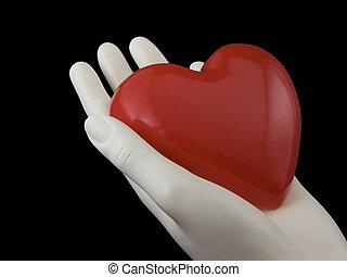 corazón, su, mano